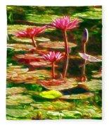 Pink Lotus Flower 2 Fleece Blanket