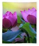 Pink Lotus Fleece Blanket