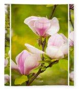 Pink Magnolia Triptych Fleece Blanket