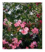 Pink Oleanders Fleece Blanket
