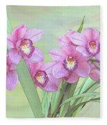 Pink Orchid Photo Sketch Fleece Blanket