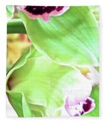 Pink Orchid With Green 1 Fleece Blanket