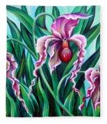 Pink Orchids Fleece Blanket