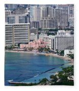 Pink Palace Waikiki Honolulu Fleece Blanket