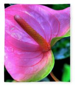 Pink Peace Lily Fleece Blanket