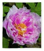 Pink Peony Blossom Fleece Blanket
