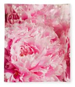 Pink Peony Bouquet Fleece Blanket