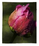 Pink Peony Bud With Dew Drops Fleece Blanket