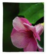 Pink Petals In The Rain Fleece Blanket
