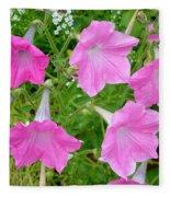 Pink Petunia Flower 9 Fleece Blanket