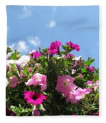 Pink Petunias In The Sky Fleece Blanket