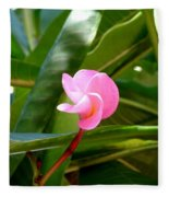 Pink Plumeria In Bloom Fleece Blanket