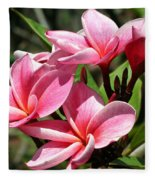 Pink Plumeria Fleece Blanket