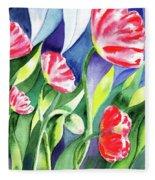 Pink Poppies Batik Style Fleece Blanket