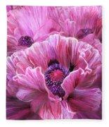 Pink Poppy Splash Fleece Blanket