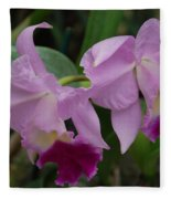 Pink Purple Orchids Fleece Blanket
