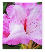 Pink Rhododendron Art Print Floral Canvas Rhodies Baslee Troutman Fleece Blanket