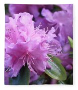 Light Purple Rhododendron With Leaves Fleece Blanket