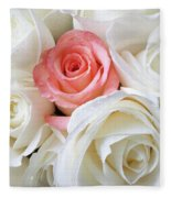 Pink Rose Among White Roses Fleece Blanket