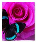 Pink Rose And Black Blue Butterfly Fleece Blanket