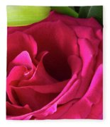 Pink Rose And Bud Close-up Fleece Blanket