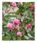 Pink Rose Buds Fleece Blanket