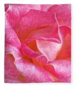 Pink Rose Close Up Fleece Blanket