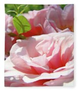 Pink Rose Flower Garden Art Prints Pastel Pink Roses Baslee Troutman Fleece Blanket