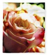 Pink Rose In Sparkling Lights Fleece Blanket