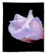 Pink Rose Of Sharon Glowing On A Black Background Fleece Blanket