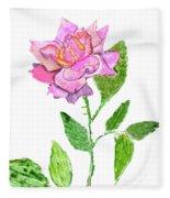 Pink Rose, Painting Fleece Blanket