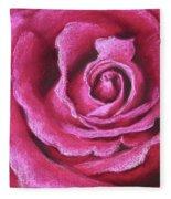 Pink Rose Pastel Painting Fleece Blanket