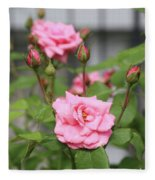 Pink Rose With Buds Fleece Blanket