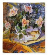 Pink Roses In Gaye's Dish Fleece Blanket