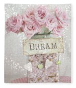 Shabby Chic Dreamy Pink Roses - Cottage Chic Pink Romantic Roses In Jar  - Dream Roses Fleece Blanket