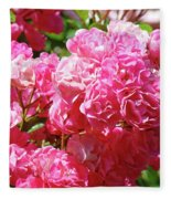 Pink Roses Summer Rose Garden Roses Giclee Art Prints Baslee Troutman Fleece Blanket