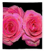 Pink Roses With Enameled Effects Fleece Blanket
