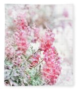 Pink Snapdragons Watercolor Fleece Blanket