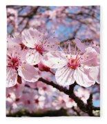 Pink Spring Blossoms Art Print Blue Sky Landscape Baslee Troutman Fleece Blanket