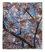 Pink Spring Blossoms Fleece Blanket