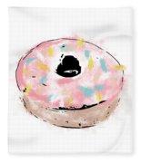 Pink Sprinkle Donut- Art By Linda Woods Fleece Blanket by Linda Woods