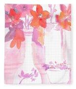 Pink Still Life Fleece Blanket