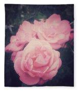 Pink Summer Roses Fleece Blanket