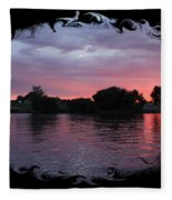 Pink Sunset Panorama With Black Framing Fleece Blanket