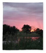 Pink Sunset With Green Riverbank Fleece Blanket