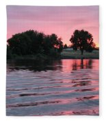 Pink Sunset With Soft Waves Fleece Blanket