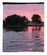 Pink Sunset With Soft Waves In Black Framing Fleece Blanket