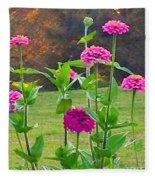 Pink Tall Zinnia's Fleece Blanket