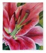 Pink Tiger Lily Fleece Blanket