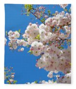 Pink Tree Blossoms Art Prints 55 Spring Flowers Blue Sky Landscape  Fleece Blanket